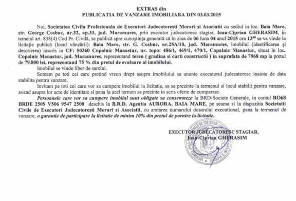 Vanzare teren in Copalnic Manastur – Extras publicatie vanzare imobiliara, din data de 06. 03. 2015