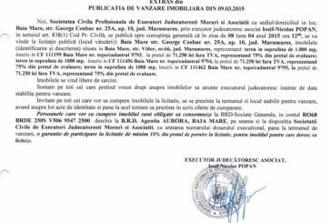 Vanzare terenuri in Baia Mare – Extras publicatie vanzare imobiliara, din data de 11. 03. 2015