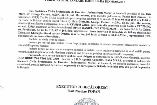 Vanzare teren in Zalau – Extras publicatie vanzare imobiliara, din data de 12. 03. 2015