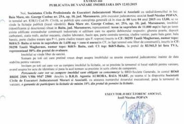 Vanzare teren in Baita – Extras publicatie vanzare imobiliara, din data de 17. 03. 2015