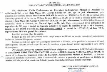 Vanzare teren in Cluj – Extras publicatie vanzare imobiliara, din data de 23. 03. 2015