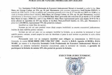 Vanzare casa in Baia Mare – Extras publicatie vanzare imobiliara, din data de 24. 03. 2015