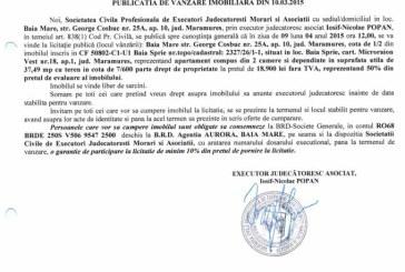 Vanzare teren in Baia Sprie – Extras publicatie vanzare imobiliara, din data de 12. 03. 2015
