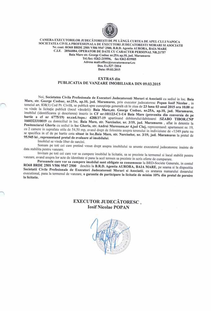 Vanzare apartament in Baia Mare – Extras publicatie vanzare imobiliara, din data de 11. 03. 2015