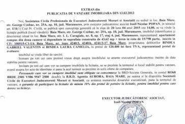 Vanzare apartament in Baia Mare – Extras publicatie vanzare imobiliara, din data de 13. 03. 2015