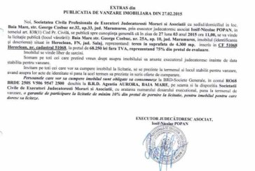 Vanzare teren in Salaj – Extras publicatie vanzare imobiliara, din data de 05. 03. 2015