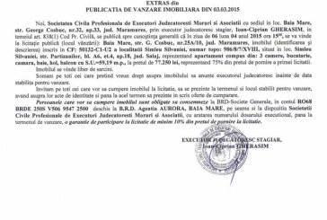 Vanzare apartament in Simleul Silvaniei – Extras publicatie vanzare imobiliara, din data de 06. 03. 2015