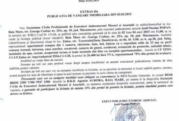 Vanzare apartament in Zalau – Extras publicatie vanzare imobiliara, din data de 04. 03. 2015