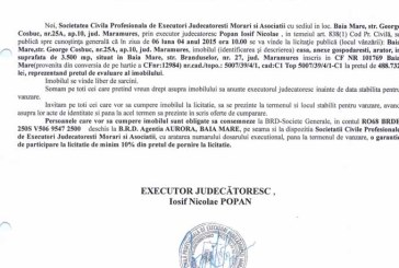 Vanzare casa in Baia Mare – Extras publicatie vanzare imobiliara, din data de 17. 03. 2015