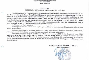 Vanzare teren in Cicarlau – Extras publicatie vanzare imobiliara, din data de 05. 03. 2015