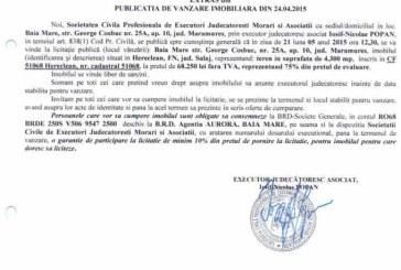 Vanzare teren in Salaj – Extras publicatie vanzare imobiliara, din data de 28. 04. 2015