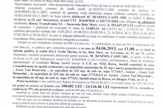 Vanzare casa in Borsa – Extras publicatie vanzare imobiliara, din data de 27. 04. 2015