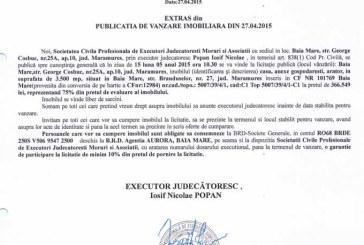 Vanzare casa in Baia Mare – Extras publicatie vanzare imobiliara, din data de 28. 04. 2015
