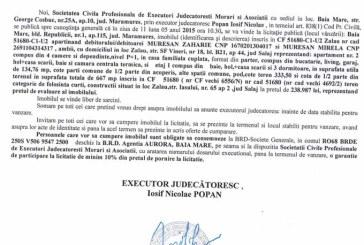 Vanzare apartament in Zalau – Extras publicatie vanzare imobiliara, din data de 14. 04. 2015