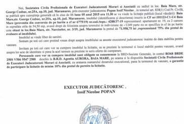 Vanzare apartament in Baia Mare – Extras publicatie vanzare imobiliara, din data de 22. 04. 2015