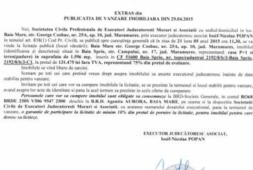 Vanzare casa in Baia Sprie – Extras publicatie vanzare imobiliara, din data de 05. 05. 2015
