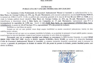 Vanzare teren in Baia Sprie – Extras publicatie vanzare imobiliara, din data de 26. 05. 2015