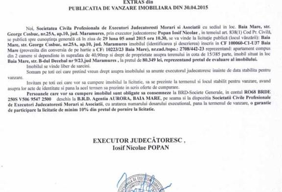 Vanzare apartament in Baia Mare – Extras publicatie vanzare imobiliara, din data de 06. 05. 2015