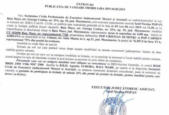 Vanzare teren in Ulmeni – Extras publicatie vanzare imobiliara, din data de 08. 05. 2015