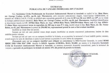 Vanzare teren si casa in Baia Mare – Extras publicatie vanzare imobiliara, din data de 05. 05. 2015