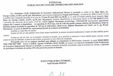 Vanzare teren in Sighetu Marmatiei – Extras publicatie vanzare imobiliara, din data de 06. 05. 2015