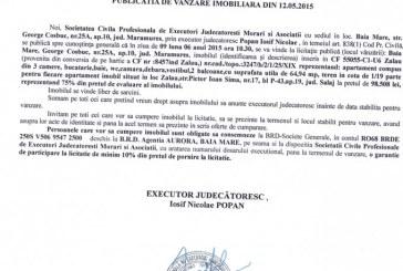 Vanzare apartament in Zalau – Extras publicatie vanzare imobiliara, din data de 21. 05. 2015