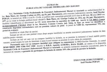 Vanzare teren in Brusturi – Extras publicatie vanzare imobiliara, din data de 21. 05. 2015