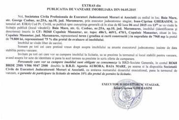 Vanzare teren in Copalnic Manastur – Extras publicatie vanzare imobiliara, din data de 13. 05. 2015