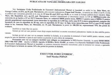 Vanzare casa si teren in Somcuta Mare – Extras publicatie vanzare imobiliara, din data de 19. 05. 2015