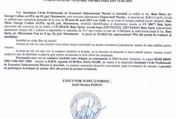 Vanzare apartament in Baia Sprie – Extras publicatie vanzare imobiliara, din data de 19. 05. 2015
