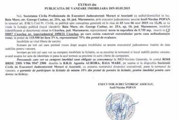 Vanzare teren in Cicarlau – Extras publicatie vanzare imobiliara, din data de 08. 05. 2015