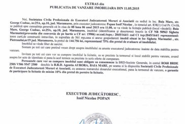 Vanzare casa si teren in Sighetu Marmatiei – Extras publicatie vanzare imobiliara, din data de 19. 05. 2015