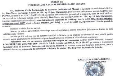 Vanzare teren in Somes Odorhei – Extras publicatie vanzare imobiliara, din data de 21. 05. 2015
