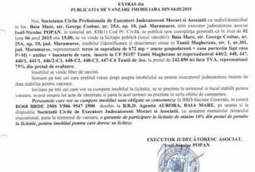 Vanzare casa in Tautii Magheraus – Extras publicatie vanzare imobiliara, din data de 08. 05. 2015