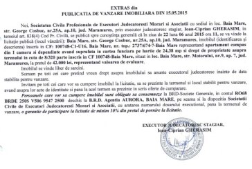 Vanzare apartament in Baia Mare – Extras publicatie vanzare imobiliara, din data de 21. 05. 2015