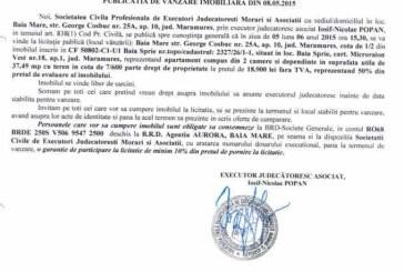 Vanzare apartament in Baia Sprie – Extras publicatie vanzare imobiliara, din data de 13. 05. 2015