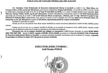Vanzare casa in Somcuta Mare – Extras publicatie vanzare imobiliara, din data de 30. 06. 2015