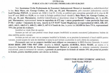 Vanzare casa si teren in Tautii Magheraus – Extras publicatie vanzare imobiliara, din data de 04. 06. 2015