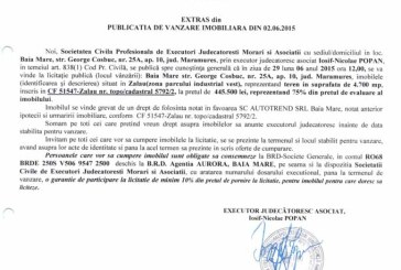 Vanzare teren in Zalau – Extras publicatie vanzare imobiliara, din data de 05. 06. 2015