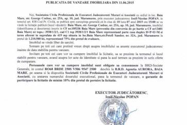Vanzare casa in Baia Mare – Extras publicatie vanzare imobiliara, din data de 12. 06. 2015
