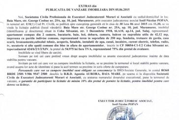 Vanzare teren Cehu Silvaniei – Extras publicatie vanzare imobiliara, din data de 16. 06. 2015