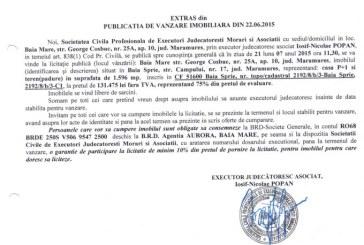 Vanzare teren si casa Baia Sprie – Extras publicatie vanzare imobiliara, din data de 25. 06. 2015