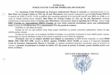 Vanzare teren in Cicarlau – Extras publicatie vanzare imobiliara, din data de 08. 06. 2015