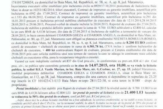 Vanzare teren in Baia Mare – Extras publicatie vanzare imobiliara, din data de 30. 06. 2015