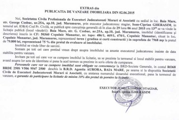 Vanzare teren in Copalnic Manastur – Extras publicatie vanzare imobiliara, din data de 04. 06. 2015