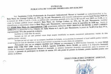 Vanzare teren in Ulmeni – Extras publicatie vanzare imobiliara, din data de 08. 06. 2015