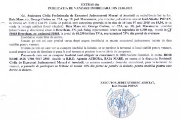 Vanzare teren Hereclean – Extras publicatie vanzare imobiliara, din data de 25. 06. 2015