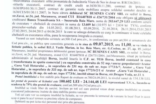 Vanzare casa in Borsa – Extras publicatie vanzare imobiliara, din data de 12. 06. 2015