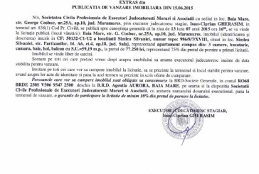 Vanzare apartament in Simleul Silvaniei – Extras publicatie vanzare imobiliara, din data de 01. 07. 2015