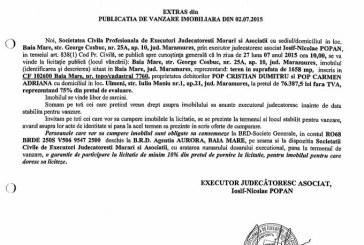 Vanzare teren in Ulmeni – Extras publicatie vanzare imobiliara, din data de 08. 07. 2015